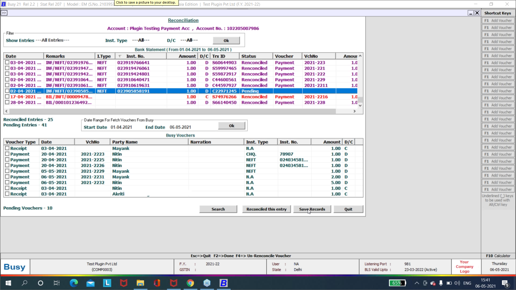 busy addon software icici bank