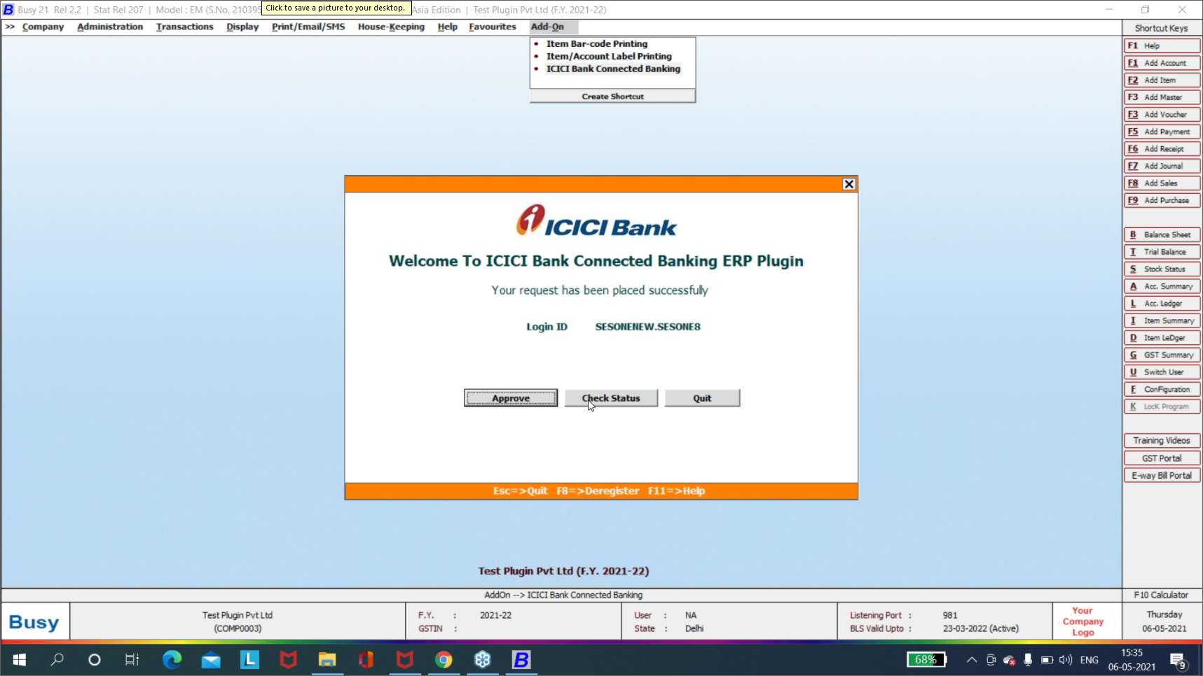 busy software addon icici bank